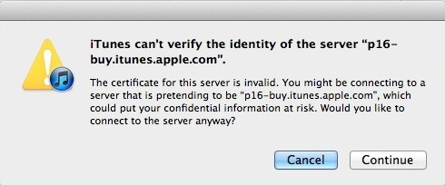 iTunes SSL Error